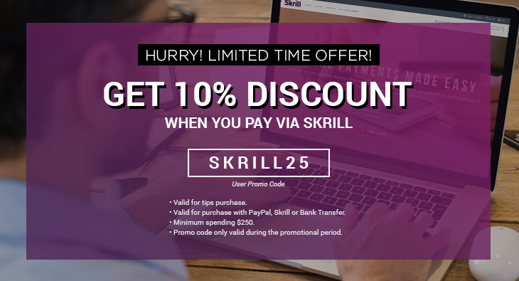 Hurry! Limited Time Offer! Get 10% Discount When You Pay Via Skrill.