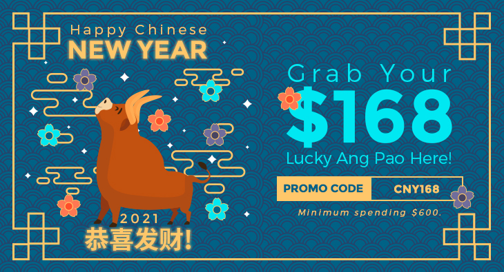 Happy Chinese New Year 2021 恭喜发财! Grab Your $168 Lucky Ang Pao Here!