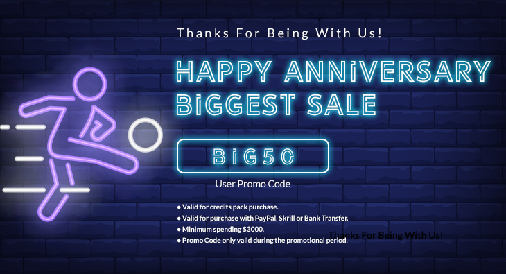 Thanks For Being With Us! Happy Anniversary Biggest Sale