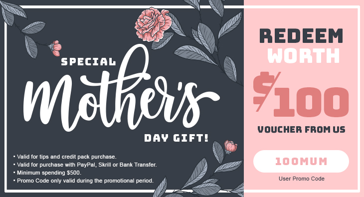 Special Mother Day Gift! Redeem Worth $100 Voucher From Us